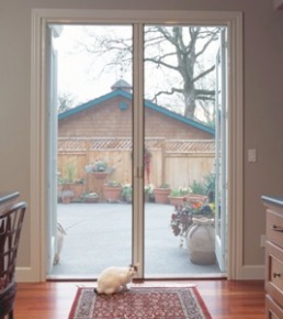 Retractable Screen Door   Double Door Outswing