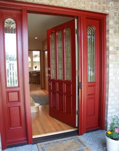 Charmant Entry Retractable Screen Door Red ...